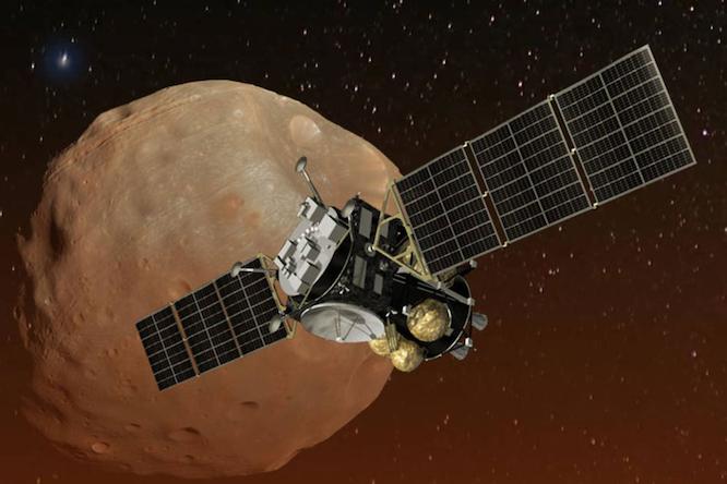 Beeld: Artist's impression van de Japanse ruimtesonde MMX, die de Marsmanen Phobos en Deimos gaat onderzoeken. (JAXA/NASA)