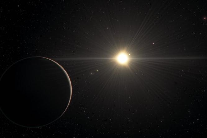 Illustratie: het uitzicht vanaf de planeet in het TOI-178-stelsel die zich het verst van de ster bevindt.(ESO/L. Calçada/spaceengine.org)